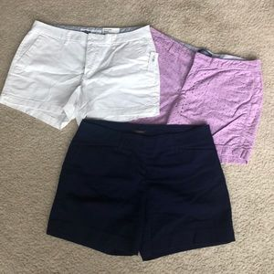 3 pair size 8 shorts. Navy blue/white/lilac